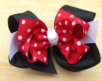 4 inch double boutique Minnie inspired hair bow - red polka dot bow, hair bows, girls hair bows, toddler hair bows, baby bows, girls bows