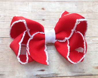 Red with white moonstitch hair bow - red & white hair bow, red boutique bow, girls hair bows, girls bows, red hair bows, christmas bows