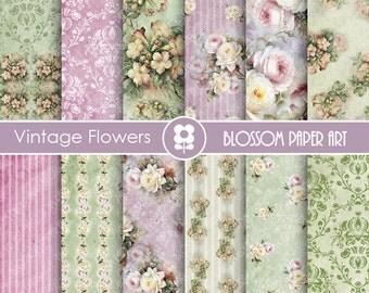 Floral Digital Papers, Roses Scrapbook Digital Paper Pack, Purple, Green, VIntage Roses - Collage Sheet - 1723
