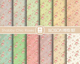 Shabby Chic Digital Papers Shaby Chic Scrapbook Digital Papers, Shabby Chic Cottage Digital Paper - INSTANT DOWNLOAD  - 1848