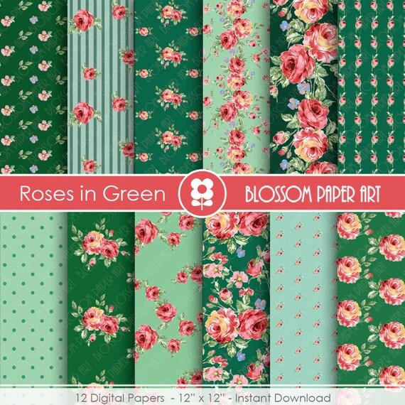 Papel decorativo de rosas papel decorativo verde floreados - Papel decorativo para muebles ...