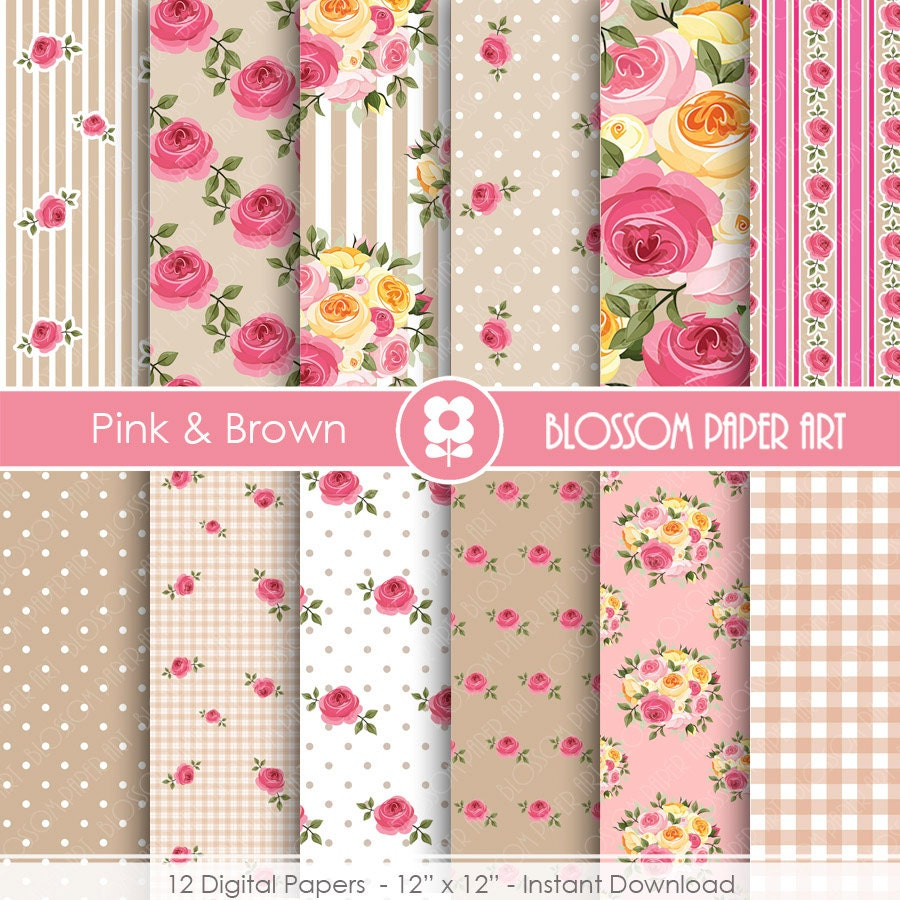 Shabby Chic Rose Digital Scrapbook Paper Digital Papers