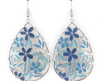 Gold-tone Blue/Orange Flower Tear Drop Plate Dangle EARRINGS, bridesmaid earrings D6