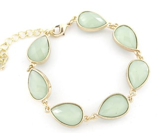Gorgeous Gold-tone Fruit Green Faceted Bead Bracelet,N1