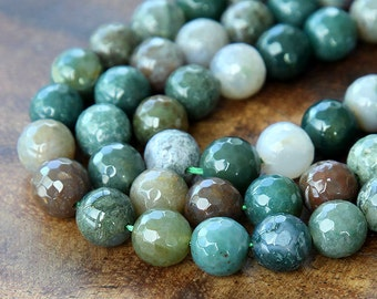 Fancy Jasper indian Agate Faceted Round Beads, 8mm Round - 15 inch Strand - eGR-AG020-8