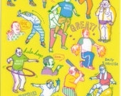 Novelty Japanese Sticker Assort: Kawaii Old Farts HIPSTER Active Style Ojisan is Back