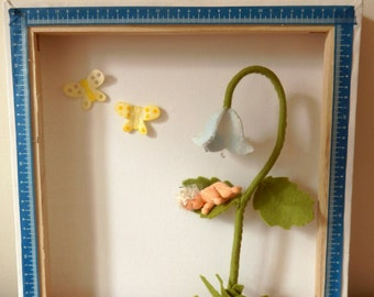 3d picture frame with baby on flower
