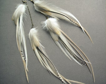 White Feather Earrings / Extra Long Feather Earrings / Ivory Cream Bridal Earrings / Feather Earrings / Hippie Bohemian Wedding / 1 Pair