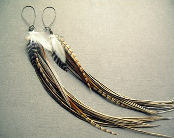 Feather Earrings - Long Feather Earrings - Natural Feather and Brass Statement Earrings - Long Tribal Earrings - Bohemian Boho Jewelry PAIR