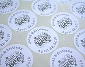 """Wedding favor labels, personalized stickers.  1"""" round stickers, set of 63, Meant to Bee.  Matte white or Kraft brown."""