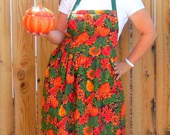 Fall Pumpkin Apron - size small to medium