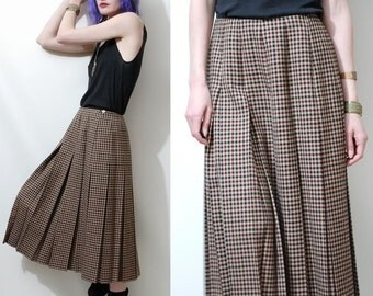 PLAID Skirt 90s Vintage PLEATED Wool Checkered Box Pleat Highwaisted Mid Length Tan Check Preppy vtg 1990s S