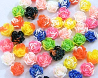 50 Rose Cabochons, Resin Flat Back Flowers, Multi Color, Assorted Mix, 11mm, Jewelry Supplies, Decoden