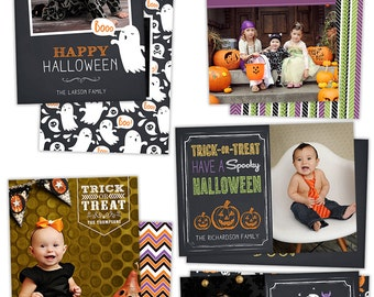 INSTANT DOWNLOAD Halloween Card Templates for Photographers - HW0105