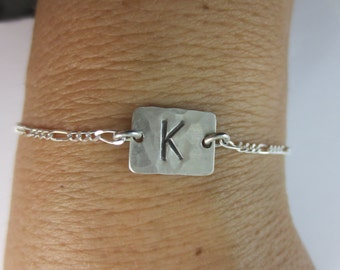 Initial Bracelet - Charm Bracelet - Initial Anklet - Hand Cut - Hammered - Hand Stamped - Figaro Chain - Sterling Silver - 1/4 inch Initial