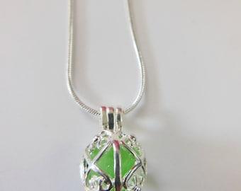 Sea glass locket necklace - filigree locket pendant, sea foam sea glass pendant, sea glass necklace, silver locket