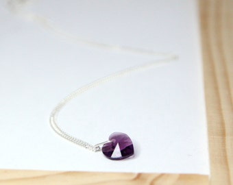 Purple Swarovski Heart Necklace, February Birthstone Necklace, Purple Bridal Necklace, Purple Bridesmaids Necklace