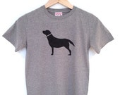 Labrador kids tshirt grey - hand printed, carbon neutral, ethically produced