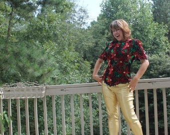 Sequined, Beaded Poinsetta Christmas Shirt