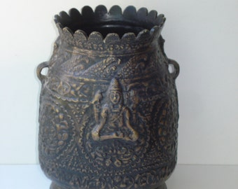 Vintage Brass Vase - Decorative Urn - Ruffled Edges - Jakarta Indonesia