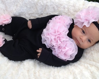 Black Romper Baby Girl Romper Set Infant One Piece Set with Pink Chiffon Flowers and Headband