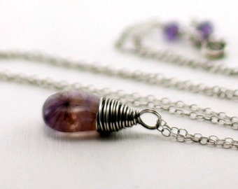 Moss Amethyst Necklace, Oxidized Sterling Silver Purple Amethyst Pendant February Birthstone Necklace Wire Wrapped