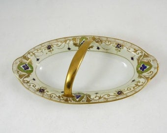 Nippon Morimura Handled Serving Dish – Porcelain Hand Painted 1910s Gold Blue Green Candy or Celery