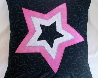 """Punk Rock - Star in Star Pink Black and Grey Accent Pillow Cushion Includes 12""""x12"""" Pillow Insert"""