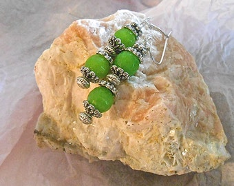 Peridot Earrings  August Birth Stone Tibetan Silver Turban Shaped Beads, End Caps and Daisy Beads Dangle Grass Green Gift
