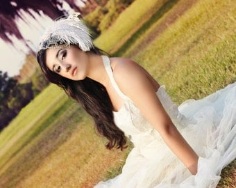 Ivory Gatsby Bridal Feather Fascinator