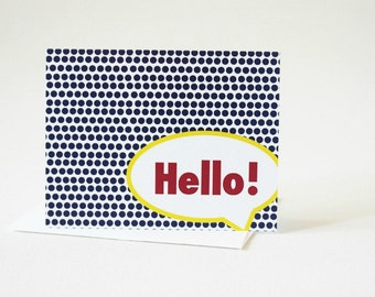 Hello Card, Note Card Set, Pop Art Comic Book Art, All Occasion Cards, Just Because Note Cards, Thank You Notes - A2S101
