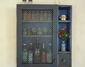 Kitchen Storage Cabinet-Rustic Wall Cabinet in #12 Black & Periwinkle w/ Ornate Sheet Metal Door - Handmade Rustic Furniture - MADE to ORDER