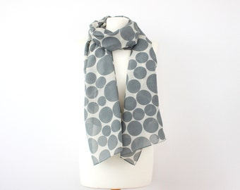 Grey Dots on Off-white Silk Cotton Lightweight Long Scarf