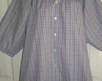 Peasant Blouse upcycled from a men's shirt 56 inch xxL blue plaid