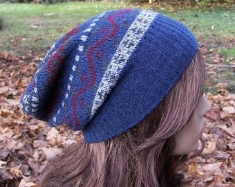 Blue recycled sweater hat ski hat Fair Isle slouchy beanie dark blue wool blend handmade upcycled sweater clothing unisex beanie
