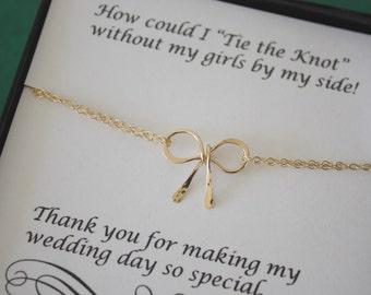 4 Gold Tie the Knot Bracelets, Bridesmaids Bracelets, Charm Bracelet, Bridesmaid Gift, Gold Bow, Knot Bracelet, Bow Bracelet, Thank you card