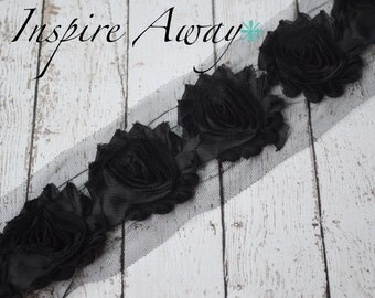 BLACK Shabby Chiffon Flower Trim - Your choice of 1 yard or 1/2 yard -  Chiffon Shabby Rose Trim, DIY headband supplies,