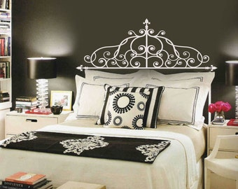 Elegant Floral Swirls Faux Wrought Iron Headboard Vinyl Wall Lettering Decal TWIN FULL Queen size