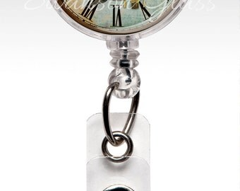 Badge Reel - Clock - Retractable ID Badge Holder - Blue Birds - Name Badge Reel Clips - Nurse Badge Nursing Student RN 332
