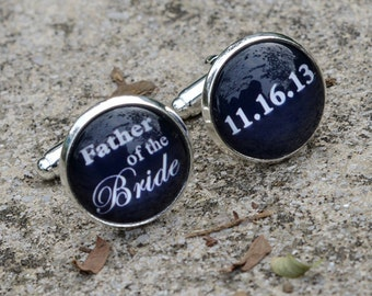 Father of the Bride or Groom Wedding Date Cufflinks, Wedding Cuff Links, Father of the Bride Gift 024