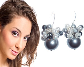 Pearl Earrings, Pearl Sterling Silver Earrings, White Silver Grey Earrings, Pearl earrings for bridal party gifts, Briesmaid jewelry