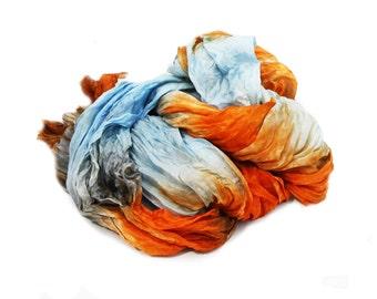 blue silk scarf - Summer Joy  -  placid blue, orange, blue, persimon, shafran, grey silk scarf.