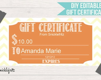 Popular items for diy printable gift on etsy for Diy certificates