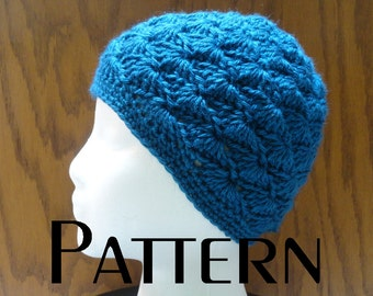 Crochet PATTERN Wavy Shells Beanie Hat Pattern DIY