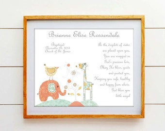 Baby Girls Christening Gift - Baptism Gift - Elephant & Giraffe Nursery, Name Wall Art for Nursery, Personalized Baptism Gift - PRINT