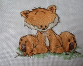 Fox completed Cross stitch picture. Woodland Animals. Nursery Picture. Hand stitched Baby shower gift, Nursery gift