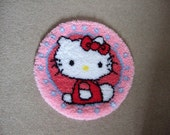 Latch Hook Rug Girls Cat Character Round Completed. Nursery,Girls Bedroom. Hand made. Holiday gift, Christmas gift,Birthday gift,Baby shower