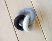 Monochromatic Felted Teething Rings, Black and White, Grey, Natural Baby Toy, Hand Knit Felt, Waldorf Inspired
