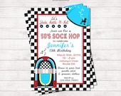 "50's Sock Hop Invitation | Printable 5"" x 7"" 