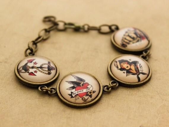 Sailor Jerry Bracelet - Rockabilly Nautical Cabochon Tattoo Pinup